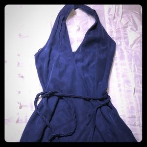 Banana Republic Royal Blue silk waist tie dress